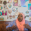 Fardousa Jama, director of Somali Barwaago Organization, expresses her frustration in the visa delays that caused London-based musician Aar Maanta to cancel his visit to Mankato. The cancellation, caused by the travel restrictions, sends a poor message to refugees around the world, she said. Photo by Jackson Forderer