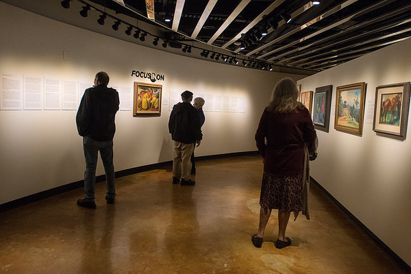 Gallery goers in Hillstrom Gallery. Photo by Jackson Forderer