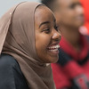 Kos Adam laughs during a video shown in a Somali language class at South Central College on Tuesday. Photo by Jackson Forderer