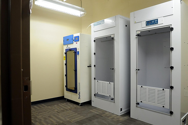The evidence area includes state-of-the-art machines used for preserving wet evidence and lifting finger prints.