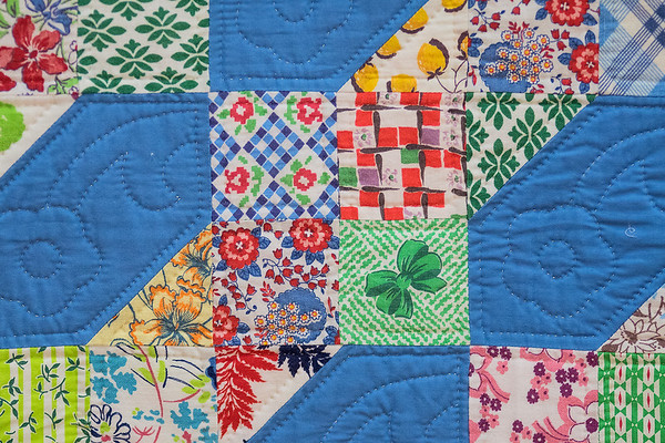A detail of one of Darlene Zimmerman's favorite quilts. Zimmerman said it took about one day to piece together the quilt but about a month to do all the hand stitching on it. Photo by Jackson Forderer