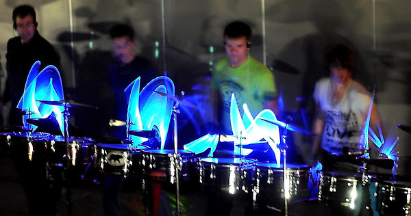 Drummers from the group Sheltered Reality perform for students at Janesville-Waldorf-Pemberton high school Thursday. The group, which uses music to educate and motivate students, also played for JWP elementary school students.