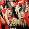 John Cross<br /> Mankato West fans cheer for the girls' soccer team which was making its first appearance in the Metrodome in the Girls Class A State Tournament on Monday. The Scarlets were defeated by Benidle-St. Margaret's in a semi-final game, 5-1.