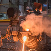Matt Merritt pours iron at Dotson Iron Castings on Friday. Photo by Jackson Forderer