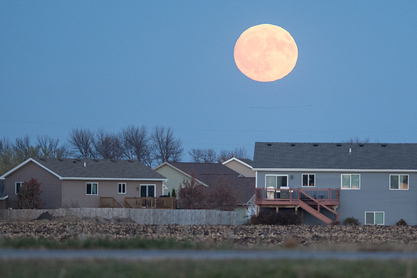 A Hunter's Moon rises over the Trail Creek neighborhood in Mankato on Tuesday. Photo by Jackson Forderer