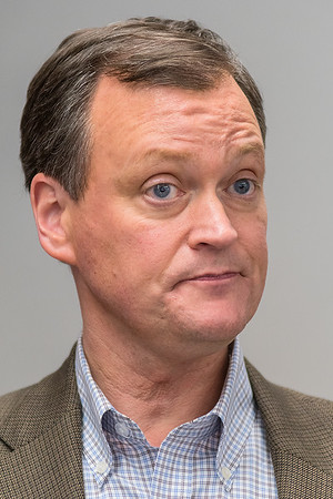 GOP Gubernatorial Candidate Jeff Johnson speaks at a press conference at Mankato Airport on Tuesday. Photo by Jackson Forderer