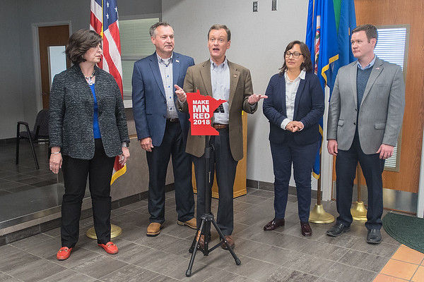 Jeff Johnson (center), flanked by other GOP statewide candidates, talks at a press conference at Mankato Airport on Tuesday. The candidates are touring Minnesota this week to get out the vote before the Nov. 6 election. Photo by Jackson Forderer
