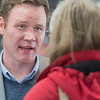 Doug Wardlow talks with an area resident inside the Mankato Airport on Tuesday. Photo by Jackson Forderer