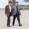 GOP Gubernatorial candidate Jeff Johnson (left) listens to Doug Wardlow, GOP candidate for attorney general, as they walked across the tarmac at the Mankato Airport. A group of GOP candidates made seven stops in southern Minnesota on Tuesday, a week before elections. Photo by Jackson Forderer