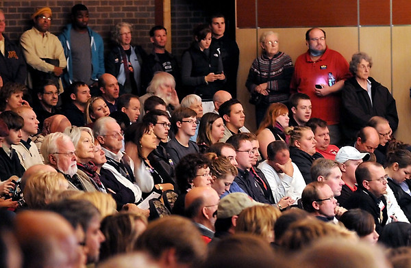 A standing room only crowd listens to 1st Congressional District candidates Allen Quist and Tim Walz during a debate Tuesday at MSU's Ostrander Auditorium.