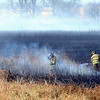 Madison Lake firefighters put out a hot spot in a grass fire Thursday near Eagle Lake.