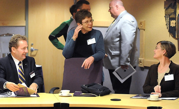 Pat Christman <br /> Minnesota State University president Richard Davenport talks with Rep. Alice Hausman of St. Paul, center, and Rep. Kim Norton of Rochester during Minnesota House of Representatives bonding commmittee tour Wednesday at MSU.
