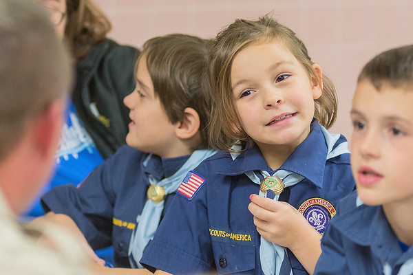 Abby Jones, 9, ponders a true-false safety question posed to her and other Boy Scouts at their first meeting held at Washington Elementary on Thursday. Photo by Jackson Forderer