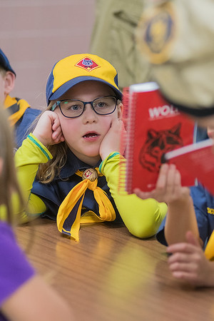 Lauren Kloepping reads the back of a Boy Scout book at the first Pack 91 meeting of the year at Washington Elementary on Thursday. Photo by Jackson Forderer