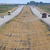 Traffics travels along a newly opened section of Highway 14 between Waseca and Owatonna.