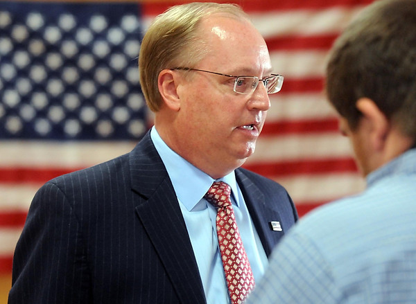 Pat Christman <br /> Jim Hagedorn speaks with reporters after announcing his candidacy for Minnesota's 1st Congressional District seat held by Rep. Tim Walz Wednesday near Good Thunder.