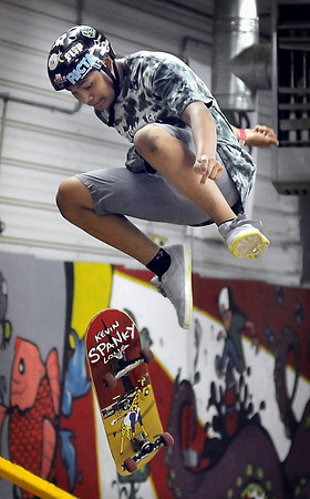 John Cross<br /> Felix Montejo and his skateboard get some serious air while he participates in a skateboard competition Saturday at Chesley Skate Park.