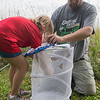 Charlotte Bandel, 8, puts her monarch butterfly catch into a holding net held by Christopher Johnson at the Ney Nature Center in rural Henderson. Research done by the Monarch Watch has revealed that a small population of monarchs now winter in Florida rather than in Mexico. Photo by Jackson Forderer