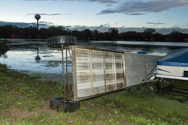 A dock on Tatonka Lake in Waterville was flipped on its side after a storm swept through the area on Thursday evening. Photo by Jackson Forderer