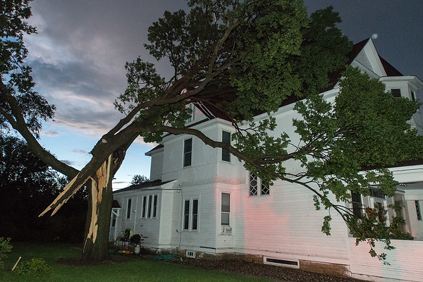 """A split tree hit a house on Third Street in Waterville. Ashley Robinson, who rents part of the property said, """"I'm pretty sure it was a tornado but I took the kids to the basement so we couldn't really see anything but we heard a boom."""" Photo by Jackson Forderer"""