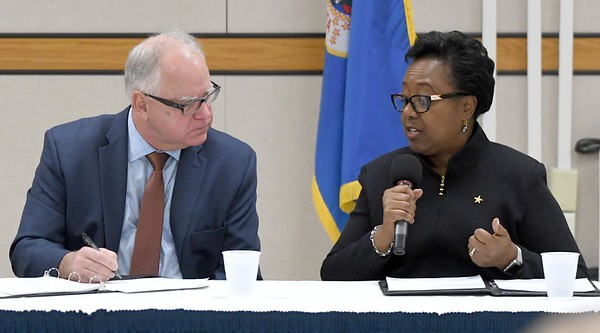 Annette Parker with Gov. Walz