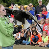 Jennifer Drayna of the National Eagle Center in Wasbasha talks about bald eagles to students Friday during education day at the 40th annual Mahkato Wacipi at Land of Memories Park.