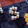 """MSU"" spelled out in cans of donated food during Thursday's canned food sculpture contest."