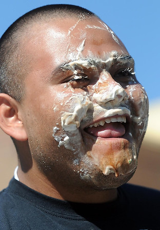 Pat Christman <br /> Winner Erik Lopez is covered in ice cream after the finals Wednesday.