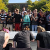 Pat Christman <br /> Spectators watch a heat of the macaroni and cheese eating contest Wednesday at MSU.