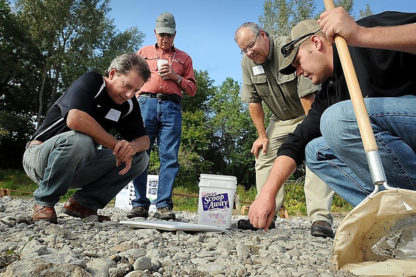 John Cross<br /> Le Sueur River Watershed Network volunteer Brady Swanson (right) explains some of the invertebrates he netted from the Le Sueur River to (from left) Scott Haefner, Eugene Scheffert and Bill LeDuc during a Le Sueur River Celebration held last week at the McGowan farm south of Mankato. The event that included a pot-luck, music and a bonfire was held to spark more interest in the Le Sueur River Watershed Network.