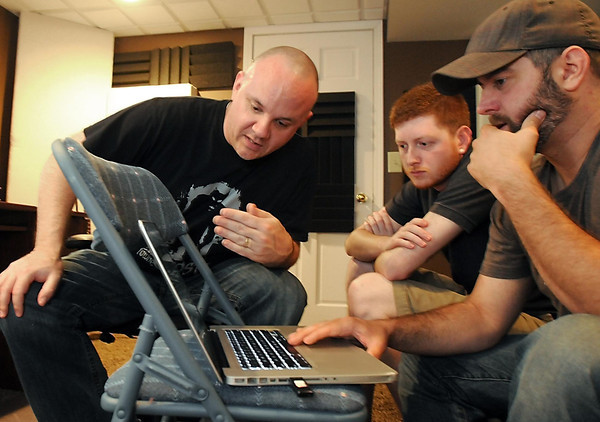 Pat Christman <br /> From left, Ryan Frederick, Mike Nietz and Jordan Powers work on a video for Made in Mankato's first installment on The Dork Den.