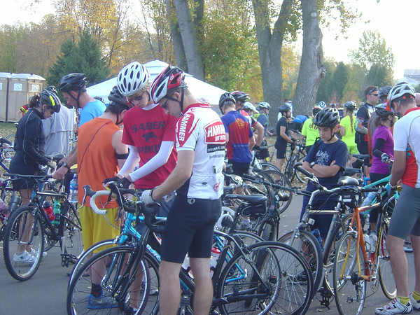 Photos by Alex Voigt<br /> More than 1,500 riders participated Sunday in the inaugural Mankato River Ramble, according to organizer Tom Engstrom.<br /> <br /> Above: Cyclists wait in line at the registration tent Sunday at Land of Memories.