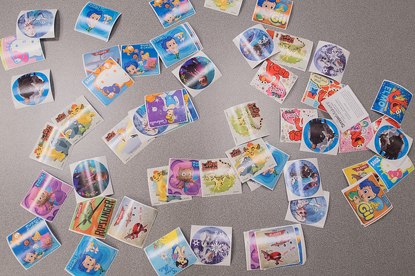 Stickers set out on a table for children who received a flu shot in the community room at River Hills Mall. Photo by Jackson Forderer