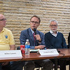 St. Peter City Administrator Todd Prafke (second from left) speaks during the Public Housing Forum held at the Blue Earth County Historical Society on Tuesday. Also on the panel were, from left, Mike Lave, city council member, Rick Goodeman, Southwest Minnesota Housing Partnership, and Kristin Prososki, City of Mankato housing coordinator. Photo by Jackson Forderer