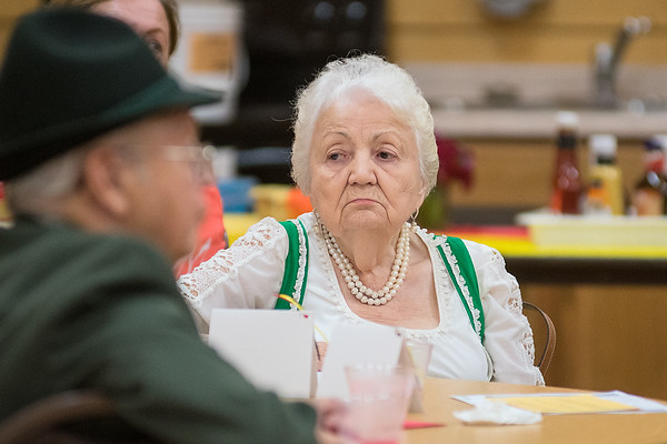 Ruth Bloom Miller wears a traditional dress at the monthly Deutsch-Amerikanischer Stammtisch club. The group used to meet at Bloom's deli when the club began. Photo by Jackson Forderer
