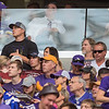 Nathan Kirschner (black shirt) and his wife Jessica Kirschner (right of Nathan) watch the Vikings play against the Tampa Bay Buccaneers at US Bank Stadium on Sunday. The couple also watched St. Thomas and St. John's play football on Saturday at Target Field, in what is known informally as the Tommies and Johnnies game. Photo by Jackson Forderer