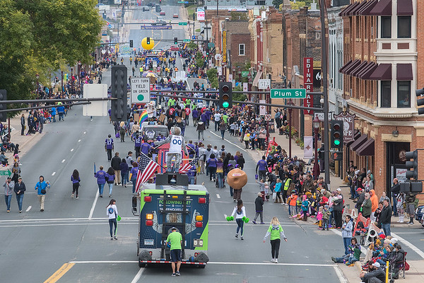 The Minnesota State University homecoming parade meanders down Riverfront Avenue in Old Town in Mankato on Saturday. It was the first time since 1970 that the parade route has gone through downtown and Old Town. Photo by Jackson Forderer