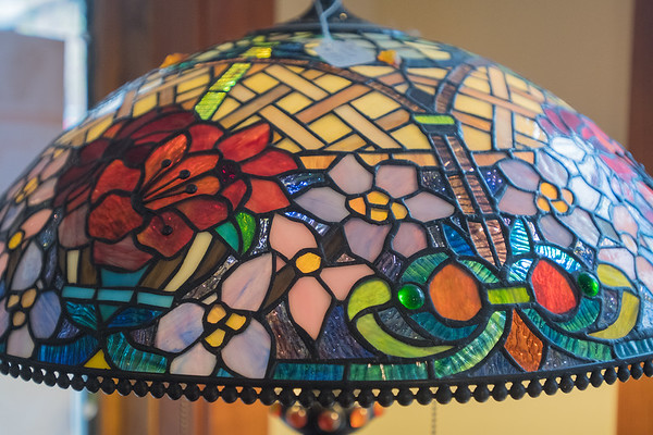 """A detail of one of the many stained-glass lamps in Henderson Classical Glass. Customer Claudia Miller said """"I love coming to Henderson. Every time we (she and her sister from Florida) get together we come here."""" Owner Dee Thomas said 20 percent of her customers are local and 80 percent are from the metro area. Photo by Jackson Forderer"""