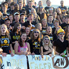 Pat Christman<br /> The Mankato East student section cheers at the start of the football team's home opener against Faribault Friday at Wolverton Field.