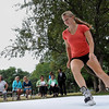 John Cross<br /> Chloe Bachman, a member of the St. Peter-Le Sueur girls hockey team, skates on a patch of artificial ice set up at Sibley Park on Tuesday for an announcement that a rink made of the material will be part of this year's Kiawanis Holiday Lights display.