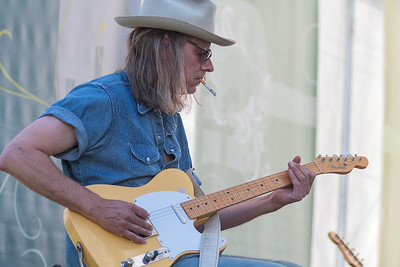 Paul Bergen plays guitar at the Rock Bend music festival held in St. Peter on Saturday. Photo by Jackson Forderer