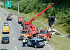 TJ & Sons assist Mass State Police Rt 2 Eastbound just beyond Depot Rd in Westminster in removing the remnants of a camping trailer destroiyed in a crash. SENTINEL&ENTERPRISE/ Jim Marabello