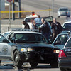 A Westminster Police car on the side of the road involved in a shoot out at eastbound 120th Ave. and Federal Blvd. on Thursday.<br /> Two Westminster officers were shot in the gun battle. Federal is closed both directions from Federal Blvd. to Pecos St.<br /> November 19, 2009<br /> Staff photo/David R. Jennings