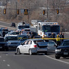 The scene of a Westminster Police shootout at eastbound 120th Ave. and Federal Blvd. on Thursday. the silver vehicle is the suspects.<br /> Two Westminster officers were shot in the gun battle. Federal is closed both directions from Federal Blvd. to Pecos St.<br /> November 19, 2009<br /> Staff photo/David R. Jennings