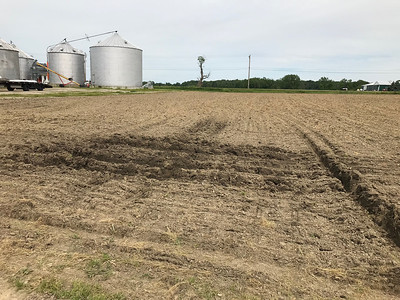 ALYSSA ALFANO / GAZETTE The fields of Kruggel Farms in Litchfield on Wednesday show tracks made by machinery in the mud and water that has collected this year due to heavy rain, which is making planting season a hard one for farmers.