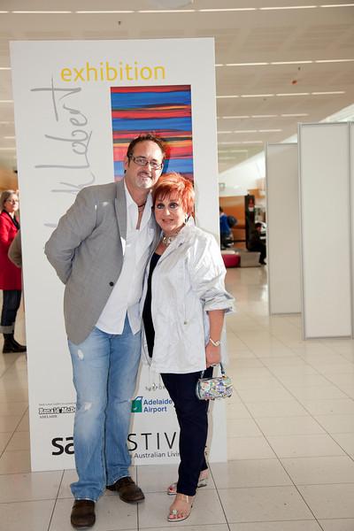 SALA 2010 - Adelaide Airport - Exhibition Opening - Mark Lobert, Mark Lobert with Anne Wills MC