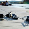 BEN GARVER — THE BERKSHIRE EAGLE<br /> The Williams College Williams crew team returns to the docks and their shoes late in the afternoon on Onota Lake in Pittsfield, Mass., Wednesday May 9, 2018. (Ben Garver / The Berkshire Eagle via AP)