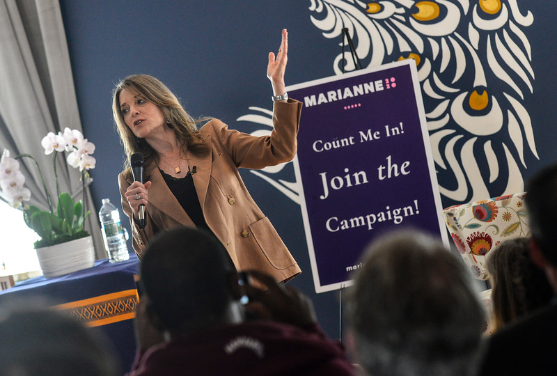 KRISTOPHER RADDER — BRATTLEBORO REFORMER<br /> Marianne Williamson, a Democrat from Iowa and presidential candidate, visits Keene Yoga Center, in Keene, N.H., to talk about issues from wanting to deal with climate change to need to change the corporate climate on Wednesday, May 22, 2019.