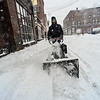 KRISTOPHER RADDER - BRATTLEBORO REFORMER<br /> Seth Pichette uses a snowblower on Elliot Street in Brattleboro, Vt., as he tries to clear snow for parking during Winter Storm Stella on Tuesday, March 14, 2017.
