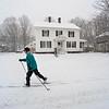 KRISTOPHER RADDER - BRATTLEBORO REFORMER<br /> Katherine Barratt, of Brattleboro, Vt., skis down Western Avenue in Brattleboro during Winter Storm Stella on Tuesday, March 14, 2017.